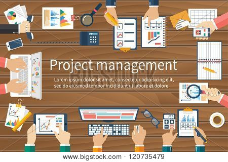 Project Management Concept. Business Team Work On Projects.