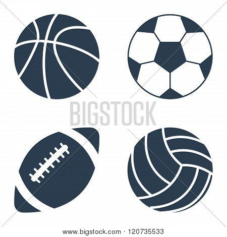 Sport Balls On Black Background. Sport Balls Set. Collection Sports Balls.