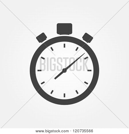 Stopwatch Icon. Timer Icon, Isolated, White On The Black Background.