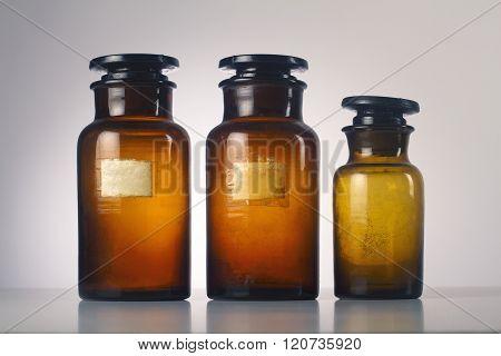 Three Old Medical Glassware