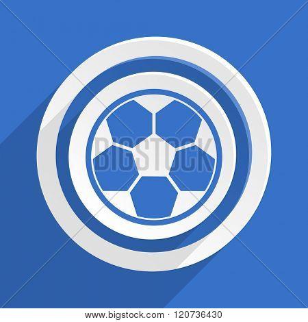 soccer blue flat design modern icon