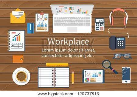 Workspace, Top View. Business Office. Flat Design