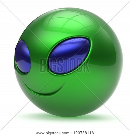 Smiley face alien cartoon cute head emoticon monster ball green blue avatar. Cheerful funny smile invader person character toy laughing eyes joy icon concept