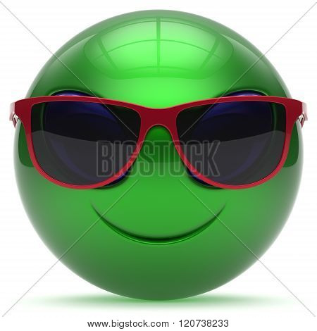 Smiley alien face cartoon cute sunglasses head emoticon monster ball green red avatar. Cheerful funny smile invader person character toy laughing eyes joy icon concept