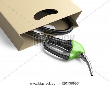 Shopping Bag With Green Fuel Pump Nozzle.