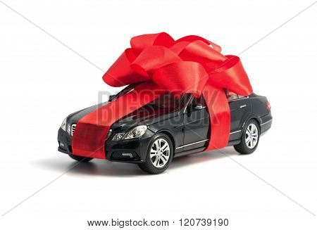 Black Car With Red Bow