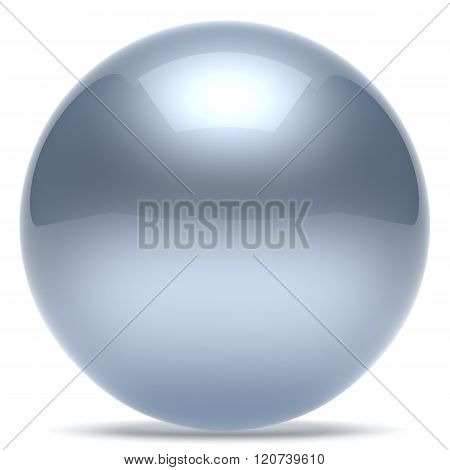 Sphere ball geometric shape button round basic circle solid figure simple minimalistic element single white chrome silver shiny glossy sparkling object blank balloon atom icon. 3d render isolated