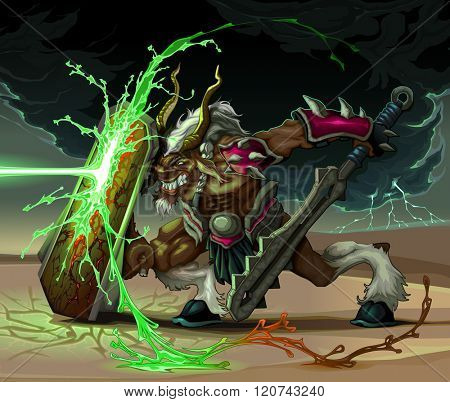 The beast is defending from lighting ball. Fantasy vector illustration