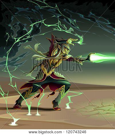 Elf is creating a lighting ball. Fantasy vector illustration