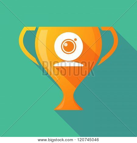 Long Shadow Trophy Icon With A Web Cam