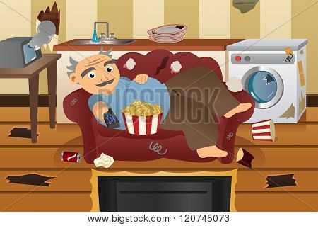 A vector illustration of lazy and sloppy man watching television on a sofa surrounded with trash poster