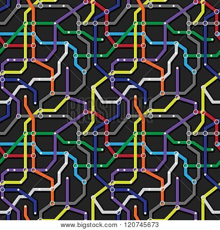 Colorful Metro Scheme Background. Abstract Seamless Vector Pattern. Railway Transport Map Texture