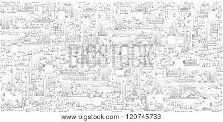 Microchip Circuit Board Vector Background. Monochrome Light Gray Industrial Pattern