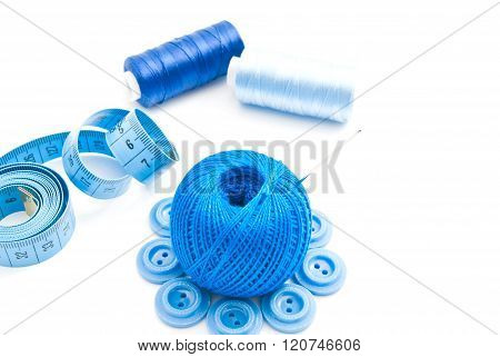Meter, Blue Buttons And Thread