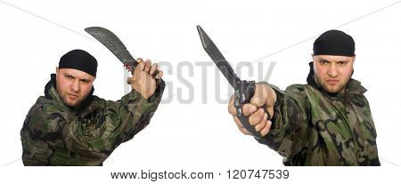 Young man in soldier uniform holding knife isolated on white