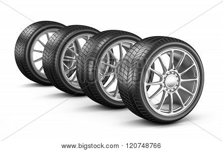 Four Car Wheels