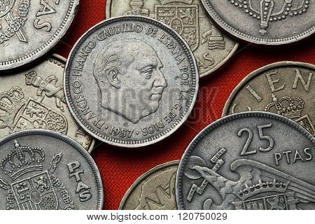 Coins of Spain. Spanish dictator Francisco Franco depicted in the Spanish five peseta coin (1957).