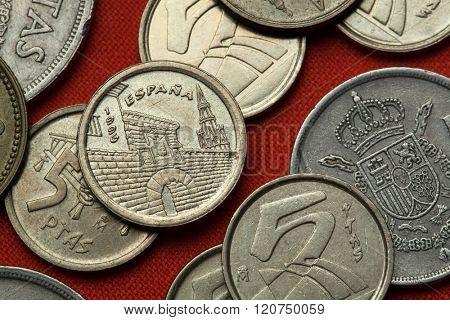 Coins of Spain. Revellin and Santa Maria de Palacio Church in Logrono, La Rioja depicted in the Spanish five peseta coin (1996).