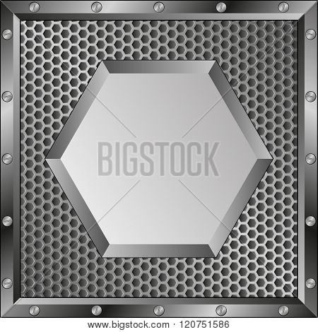 metal background with hexagonal banner - vector illustration