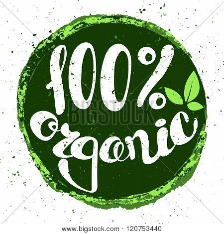 Logo 100% organic with leaves. Lettering 100% organic.