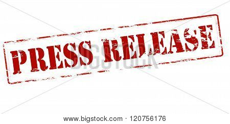 Rubber stamp with text press release inside vector illustration
