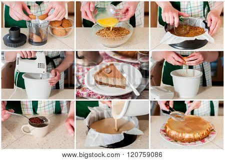 A Step By Step Collage Of Making Spiced Coffee Cheesecake