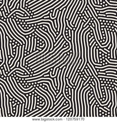 Vector Seamless Black and White Organic Rounded Jumble Lines Retro Pattern