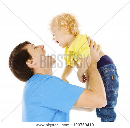 Father And Son Kid, Dad Playing With Child, Happy Parent Raising Up Boy On Hands