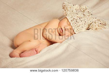 Newborn Baby Sleep, Sleeping New Born Kid In Hat