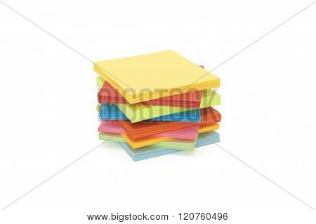 stack paper stickers on white background