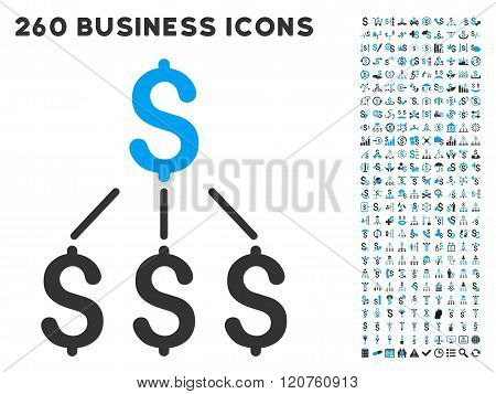 Financial Structure Icon with Flat Glyph Set