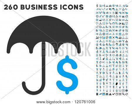 Financial Umbrella Icon with Flat Glyph Set