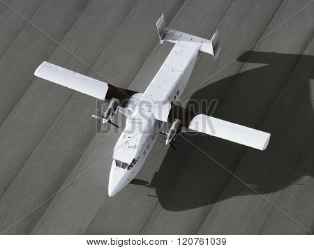 Top view of a single engine airplane ready to take off