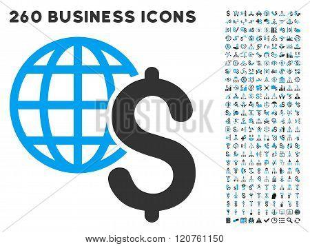 Global Economics Icon with Flat Glyph Set