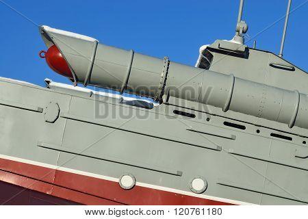 Kaliningrad, Russia - January 23, 2016: torpedo boat the monument to Baltic seamen. Kaliningrad (earlier Konigsberg) Russia