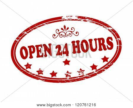 Rubber stamp with text open twenty four hours inside vector illustration