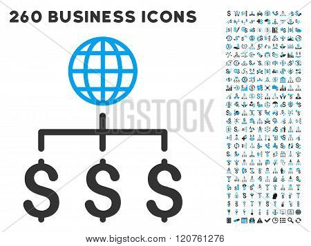 Global Payments Icon with Flat Glyph Set