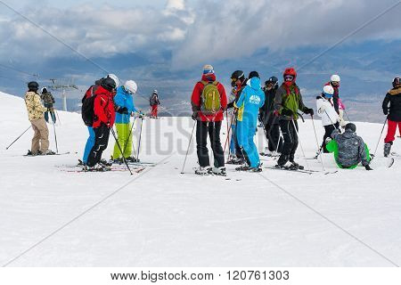 Ski Resort, People At The  High Lift Station, Bansko, Bulgaria