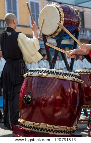 Japanese Taiko Drummer During Traditional Show