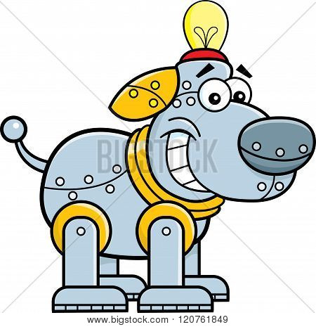 Cartoon smiling mechanical dog.