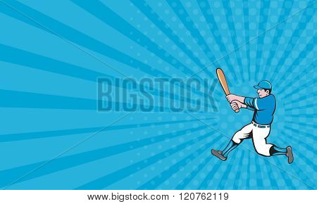 Business Card Baseball Player Batter Swinging Bat Isolated Cartoon
