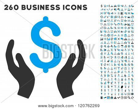 Money Care Hands Icon with Flat Glyph Set