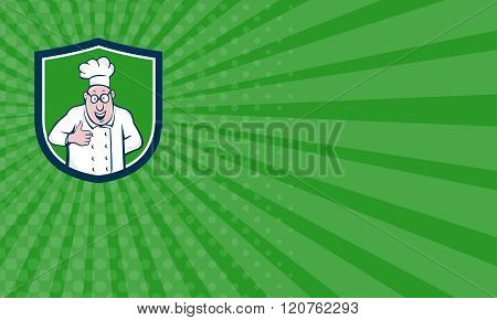 Business Card Chef Cook Thumbs Up Crest Cartoon