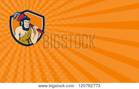 Business Card Neanderthal Caveman Plumber Monkey Wrench Shield Cartoon