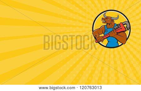 Business Card Minotaur Bull Plumber Wrench Circle Cartoon