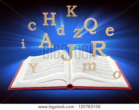 Open Book With Letters In The Air