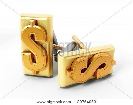 Dollar Symbol On Golden Cufflinks