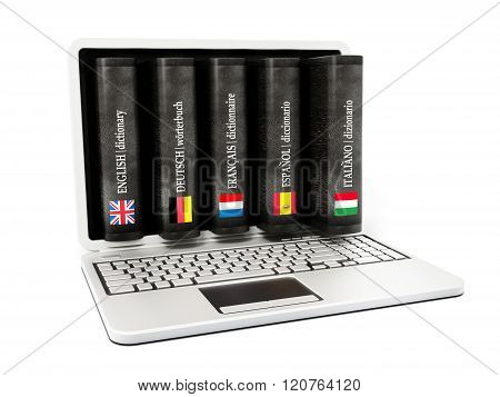 Dictionaries Inside Laptop Computer Screen