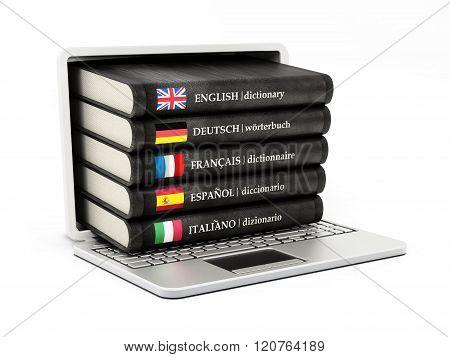 Dictionaries Inside Laptop Computer Screen