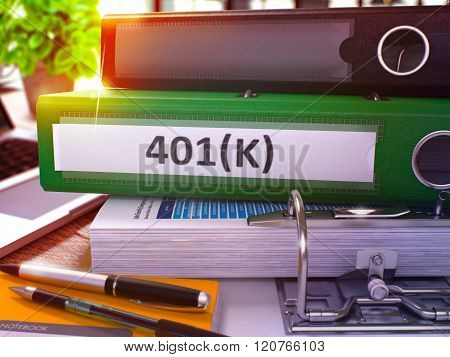 401K on Green Office Folder. Toned Image.